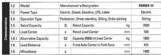FB20EX-11مشخصات کلی لیفتراک برقی کوماتسو مدل